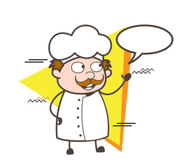 Cartoon Chef with Speech Bubble Vector Illustration