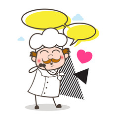 Cartoon Chef with Talk Bubbles Vector Illustration