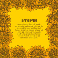 card with Graphic sunflower frame