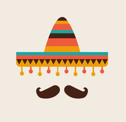 Sombrero and mustache. Mexican flat icon. Vector stock.