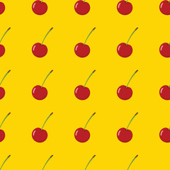Cherry vector seamless pattern. Cartoon fruit stylish texture. Repeating cherry fruit seamless pattern background for friut design and web
