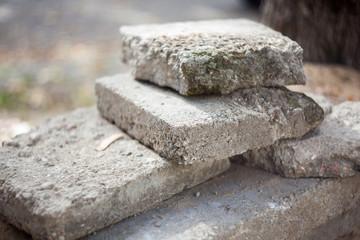 Old blocks of concrete