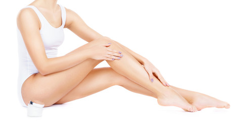 Close-up of a woman with perfect body in underwear isolated on white. Healthcare, sport, fitness, depilation, cellulite and hair removal, healthy life-style concept.