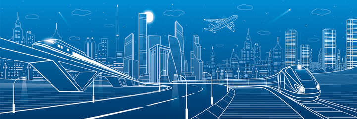 Wall Mural - Infrastructure transportation panoramic. Railway bridge. Train rides. Towers and skyscrapers. Urban scene, modern city on background, industrial architecture. White lines, vector design art