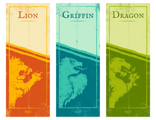 lion, griffin and dragon.
