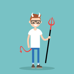 Young character wearing devil elements: horns, tail and trident / flat editable vector illustration, clip art