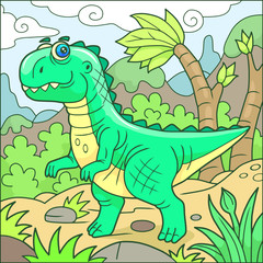 Cartoon cute tyrannosaurus funny image