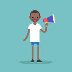 Young black character speaking through megaphone / flat editable vector illustration, clip art