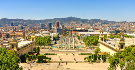 View of Barcelona from the terrace of the Catalan Art Museum, Spain.  Espanya Square.