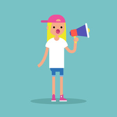 Young female character speaking through megaphone / flat editable vector illustration, clip art