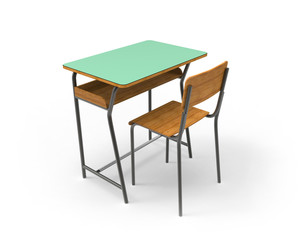 School desk with chair, Isolated on white background.