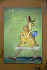 Whymisical painting of woman as street art in  Varazdin, Croatia