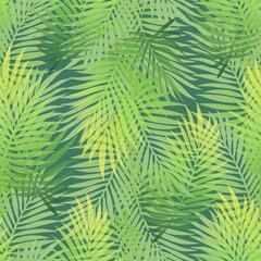 Lush green gradient color banana palm tree leaves seamless pattern. Dense jungle tropic background. Hot summer season wallpaper. Artistic textile print