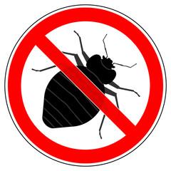 srr235 SignRoundRed - german - Verbotszeichen: Wanze / Bettwanzen verboten / Cimikose - english - prohibition sign - no bed bug - xxl g5303