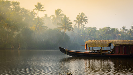 A traditional house boat is anchored on the shores of a fishing lake in Kerala's Backwaters, India. Fotomurales