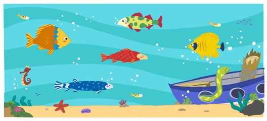 Peces en el fondo del mar. Acuario