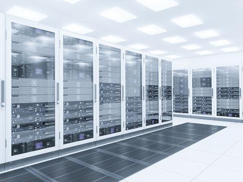 Server room. 3d rendering of data center