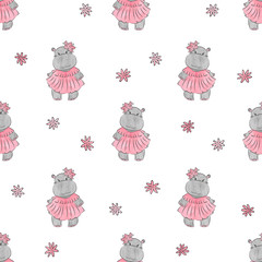 Cute baby Hippo pattern. Vector cartoon seamless background for girls.