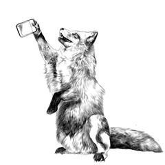 a Fox on its hind legs is photographed taking a selfie on the phone, sketch vector graphics black and white drawing