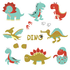 Cute little dinosaurs set. Vector cartoon collection for kids design.