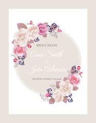 Wedding invitation cards with roses.Beautiful white and pink roses. Wedding invitation, thank you card, save the date cards. Vector illustration. EPS 10