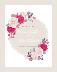 Wedding invitation cards with roses.Beautiful white and red roses. Wedding invitation, thank you card, save the date cards. Vector illustration. EPS 10