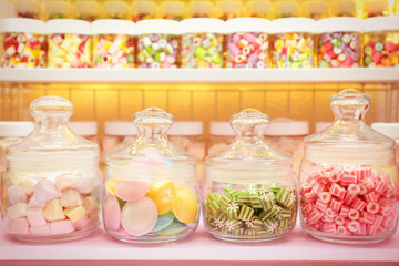 Canvas Prints Candy Different sweets in jars at candy shop