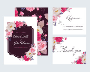 Wedding floral template collection.Wedding invitation, thank you card, save the date cards. Beautiful peony and roses. Vector illustration. EPS 10