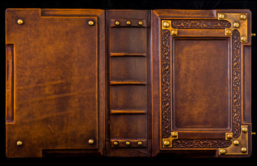 Medieval book cover, leather bound with brass corners