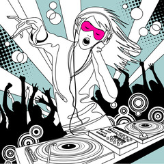 Disc jockey girl with a DJ mixer and people dancing at a party
