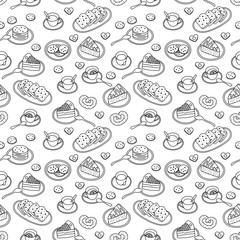 Tea, sweets and  bakery hand drawn pattern. Black and white clolors. Vector seamless background.