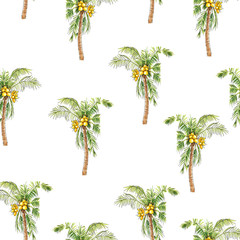 Seamless tropical summer pattern with coconut palm tree