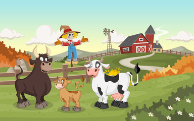 Cartoon cow, calf and bull. Farm background.