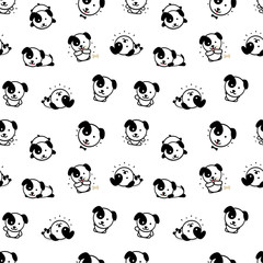 Seamless Pattern with Cute Puppy Dog Vector Illustrations, Collection of Home Animals Simple Texture Elements, Black and White mammals background