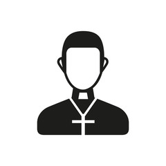 Priest wearing cross simple icon