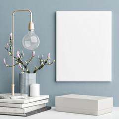 Decoration concept interior, mock up poster on blue wall, 3d illustration