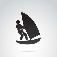 Surfing man vector icon.