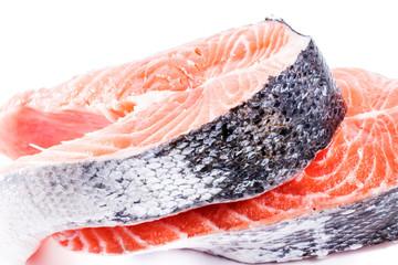 salmon steak on white background.  Sea food. Healthy eating.