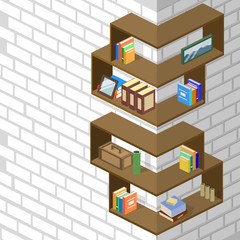 Isometric 3D vector illustration Bookshelf with piles of books. Design interior design for the arrangement of books