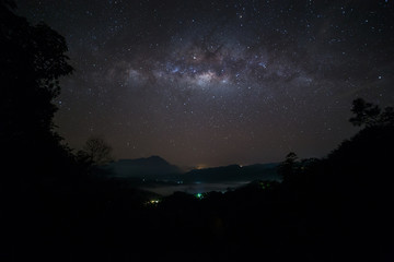 Beautiful Milky way, Amazing Milky Way galaxy at Borneo, The Milky way, Long exposure photograph, with grain.Image contain certain grain or noise and soft focus