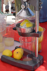 Squeezing lemons to make lemonade at lemonade stand at farmer's market