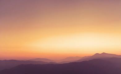 beautiful panoramic landscape of Himalayan mountains at sunset, nature in Pokhara, Nepal