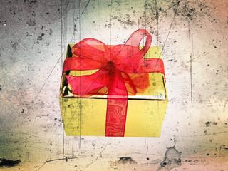 close up grunge styled single shiny gift box