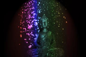 Imagen de Buda con polvo de colores