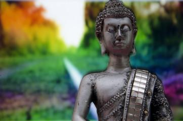 Imagen de Buda con fondo de vegetación de colores