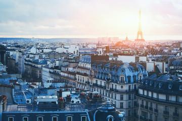 beautiful panoramic view of Paris at sunset, France
