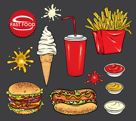 Set of fast food. Realistic hot dog, hamburger, ice cream, a glass with soda and blots of ketchup, mustard and mayonnaise. Vector elements of menu design or corporate style of a restaurant or cafe.