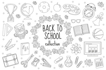 Back to school set of icons, line style. Education collection of doodle design elements, outline. Coloring page for children, kids. Isolated on white background. Vector illustration, clip-art