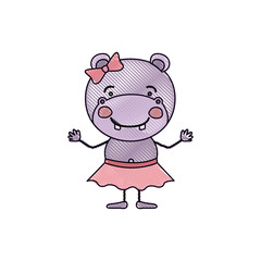 color crayon silhouette caricature of cute expression female hippo in skirt with bow lace vector illustration