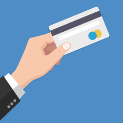 Flat Design style Human hand holding with credit card ,isolate on blue background ,vector design Element illustration